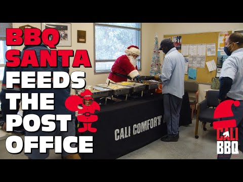 🎅🏻 bbq santa feeds postal workers and spreads kindness at san diego post office 💌
