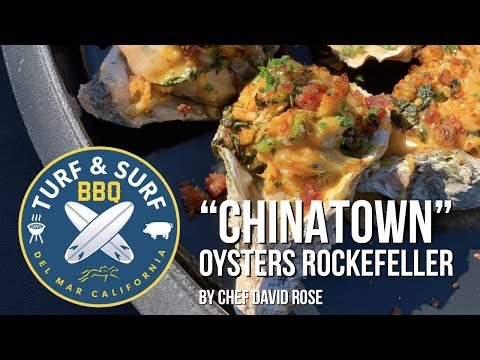 """Chef david rose cooks """"chinatown"""" oysters rockefeller w/ gochujang hollandaise on a big green egg"""