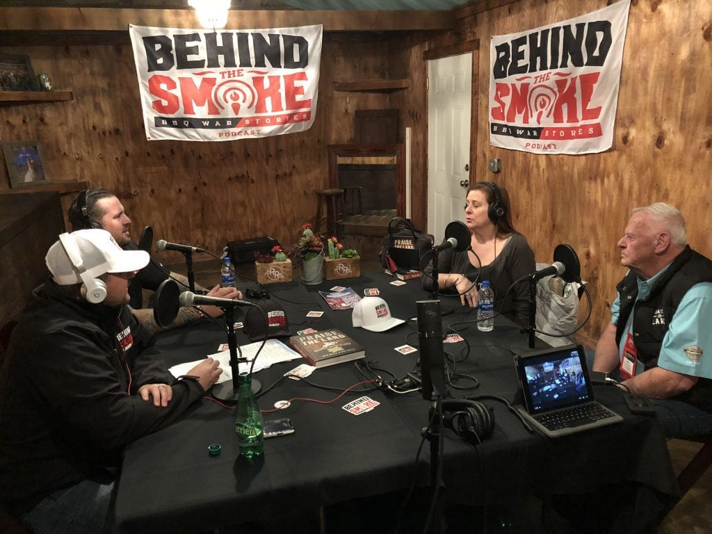 Behind the Smoke recording a podcast with Mike Mills and Amy Mills from 17th Street BBQ