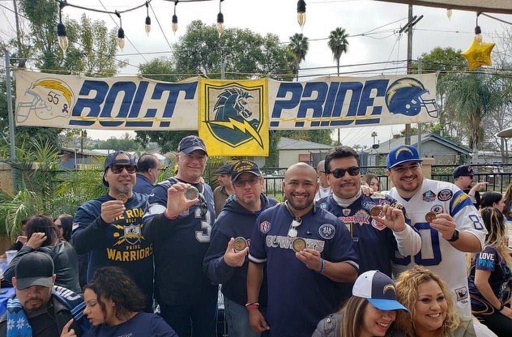 Bolt pride for the chargers at cali comfort bbq
