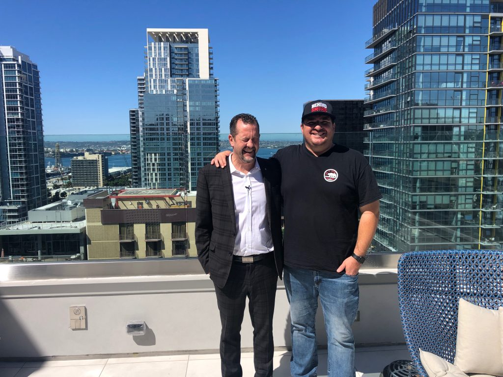 Chans Rock and Shawn Walchef on the roof of the Carte Hotel in San Diego