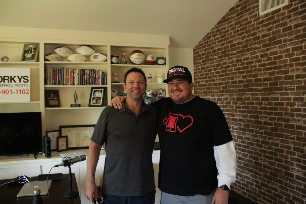 Shawn Walchef and Scott Kaplan in Kaplan's home podcast studio