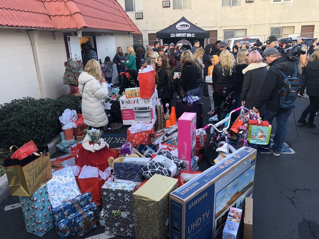 The gifts stacked up for Breaking and Entering Christmas 2019 at iHeartRadio in San Diego
