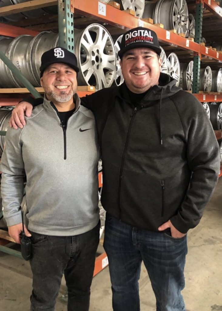 Josh casilla and shawn walchef record the digital hospitality podcast at american factory wheel in san diego