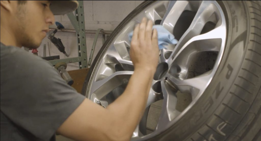 Polishing rims at american factory wheel in santee