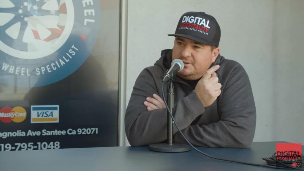 Shawn walchef hosts digital hospitality podcast from american factory wheel in san diego, california