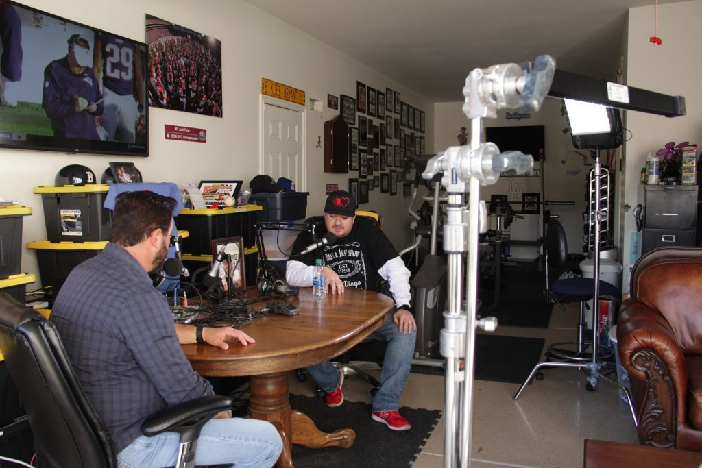 Recording the Digital Hospitality podcast in Dave Palet's garage
