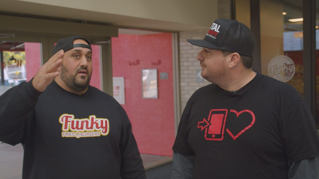 Sebastian Hallak talks to Shawn Walchef at Funky Fries and Burgers in San Diego