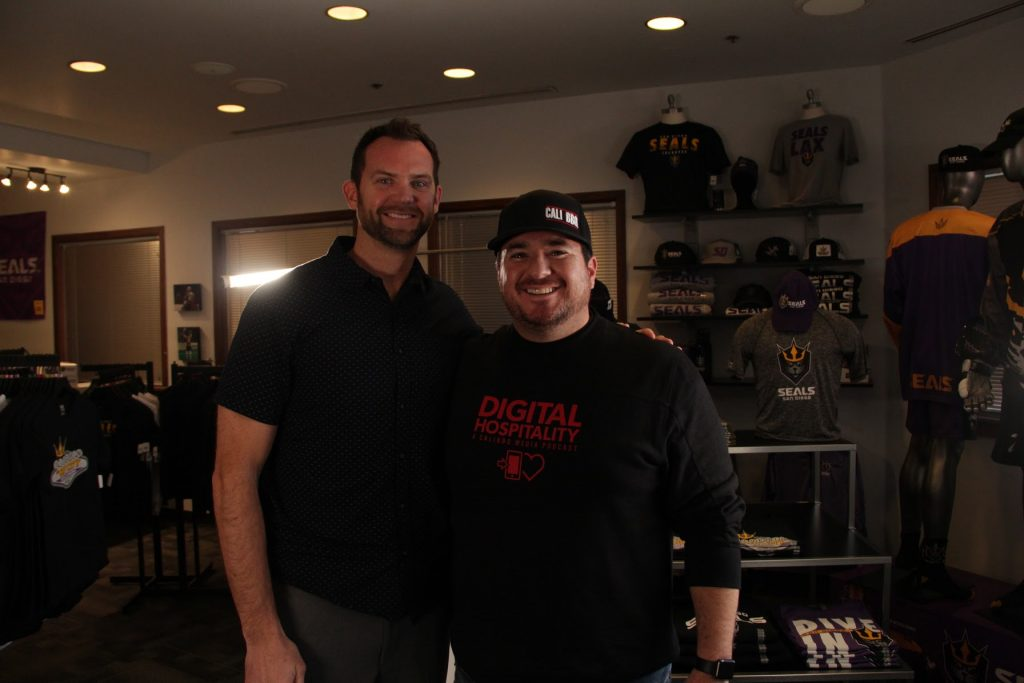 Luke Gilbert and Shawn Walchef at the Seals Team Store in San Diego