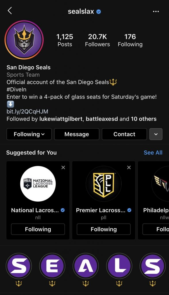 San Diego Seals Instagram