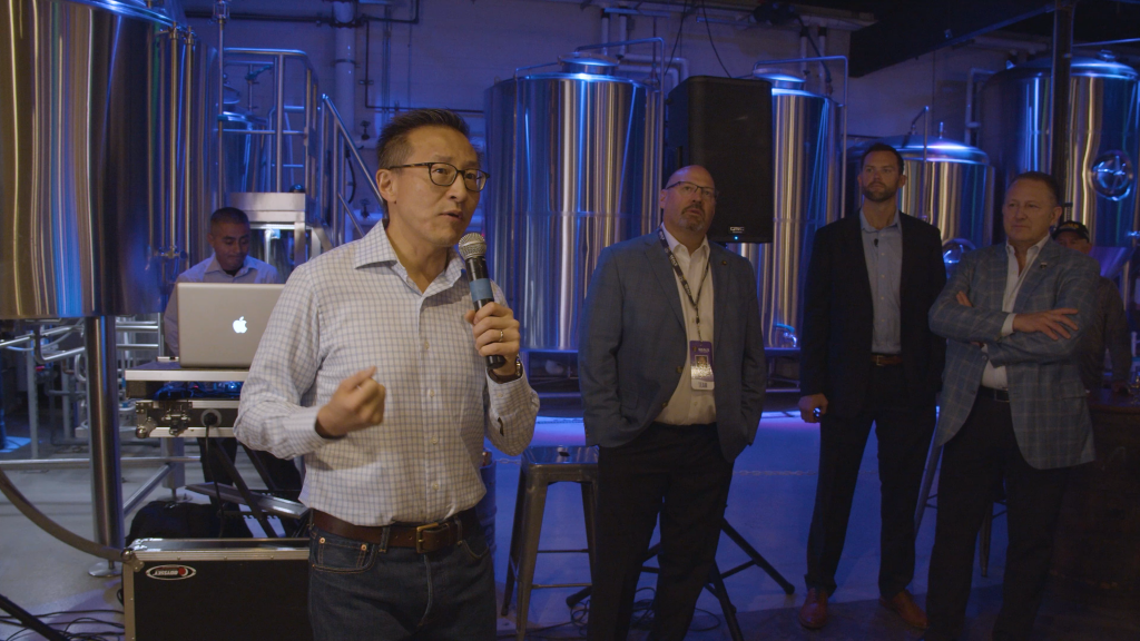 Joe Tsai speaks at a San Diego Seals event in San Diego