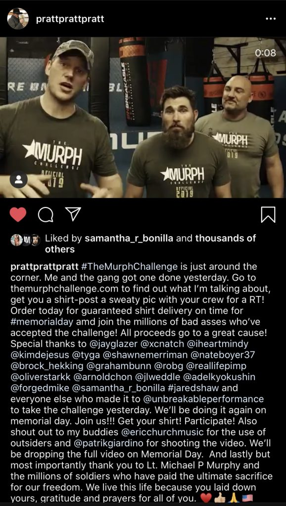 The murph challenge chris pratt