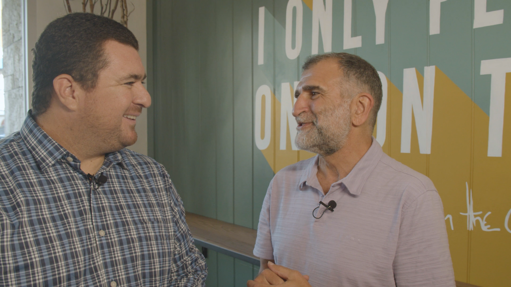 Howard solomon talks to shawn walchef on the digital hospitality podcast during the graze soft opening