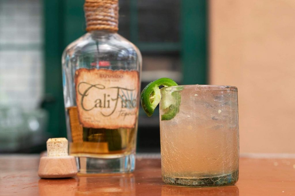 Califino tequila cocktail with jalapeno