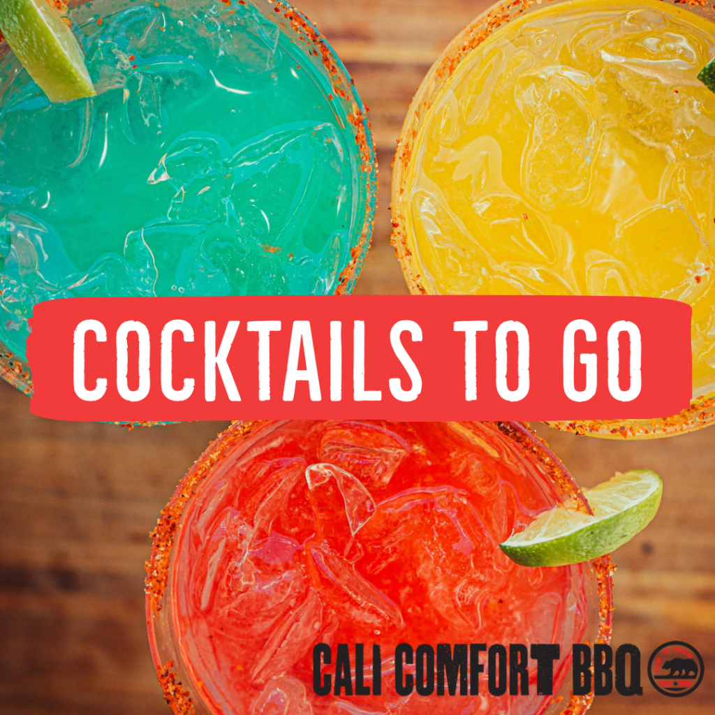Cocktails to go at Cali Comfort BBQ near San Diego