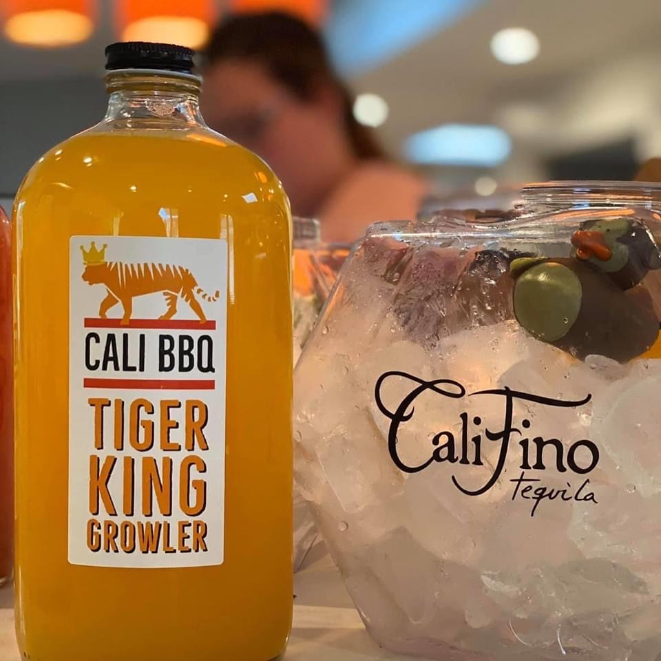 Cali bbq tiger king cocktail growler fishbowl to go