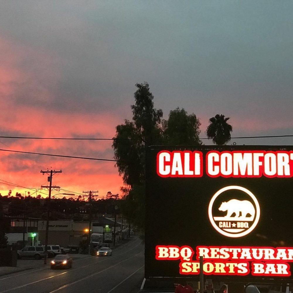 Cali comfort bbq in spring valley at dusk