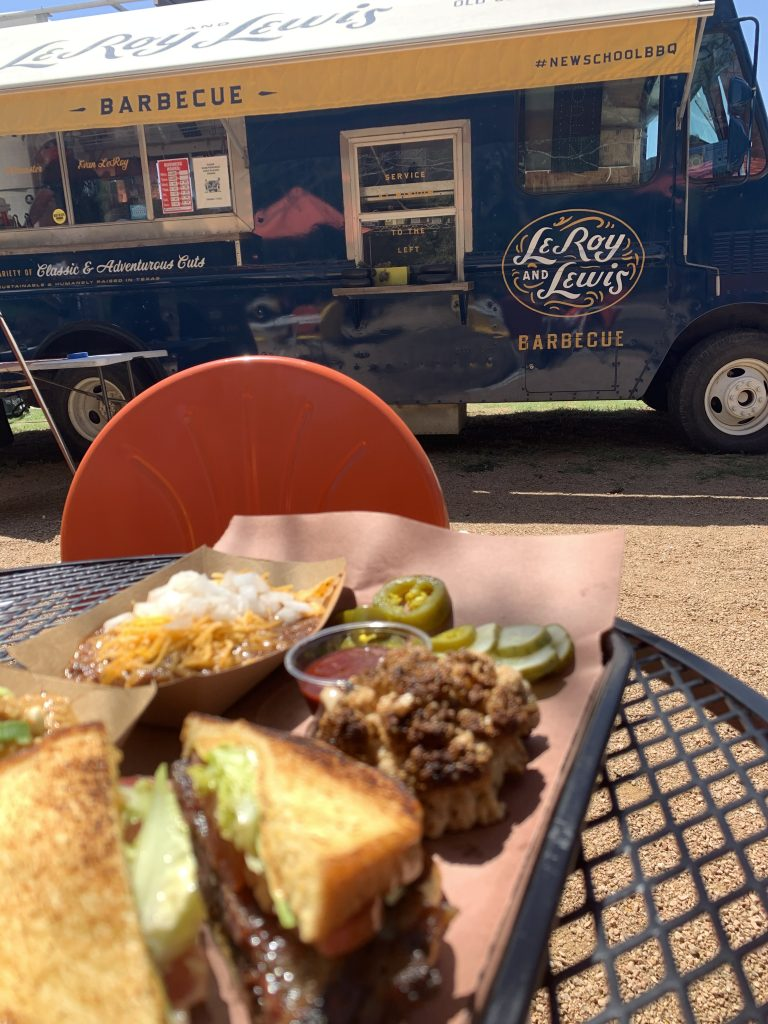 A meal at the LeRoy and Lewis BBQ food truck in Austin Texas