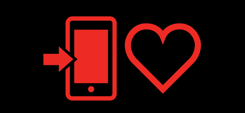 Cellphone and heart emoji icons red and black