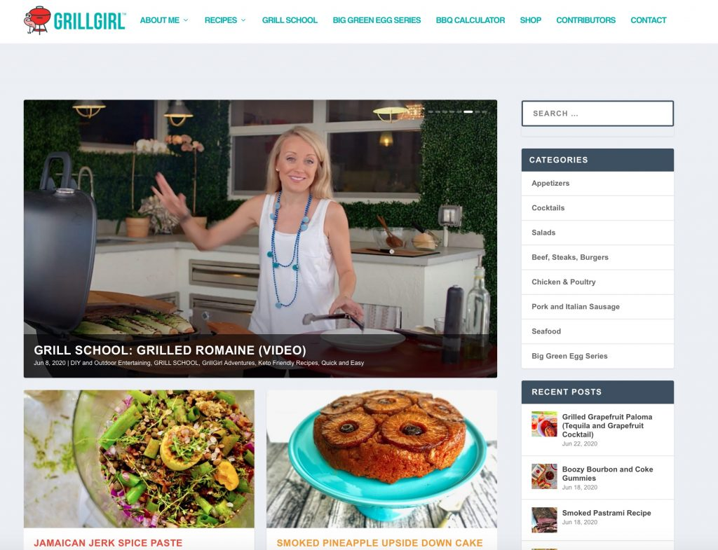 Www. Grillgirl. Com website home page june 2020