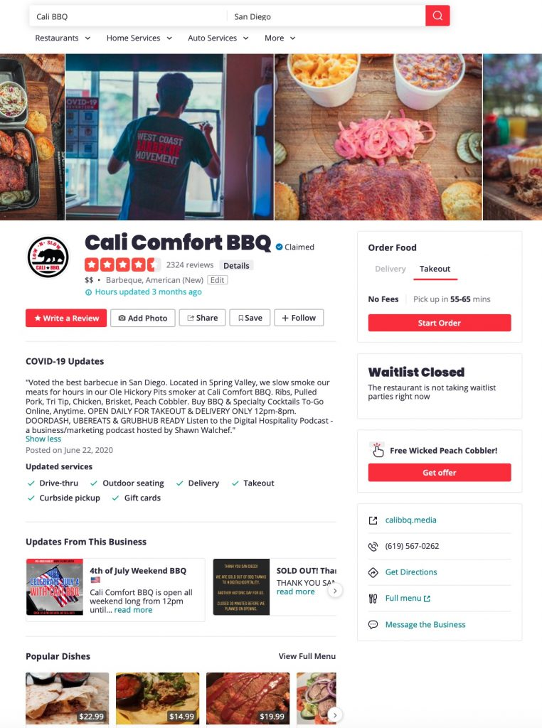 Leave cali bbq a review on yelp