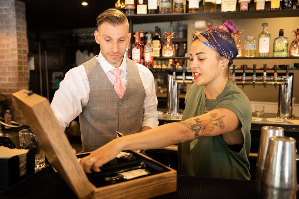 Josh Kopel and Bartender