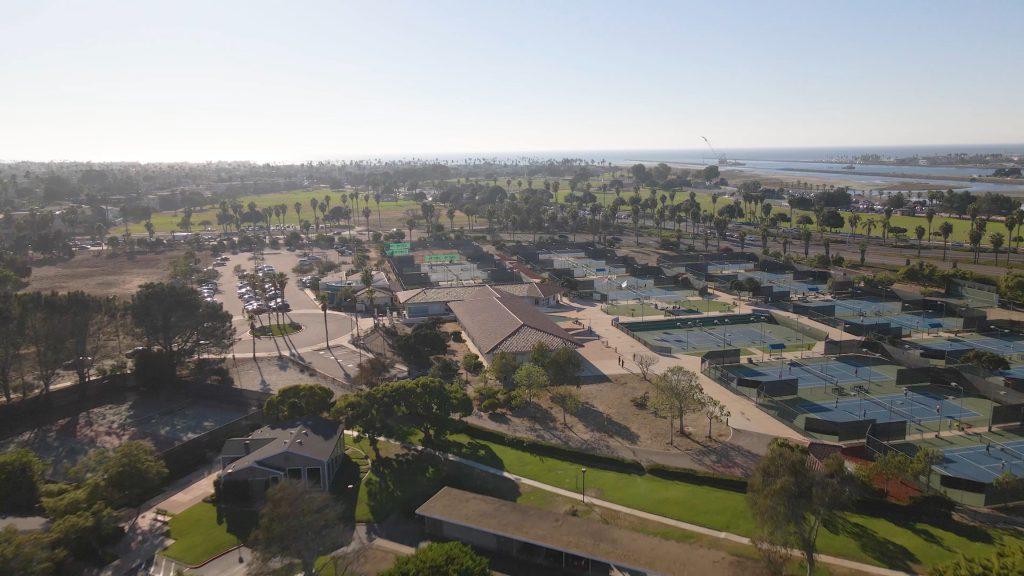 Barnes tennis center courts drone shot