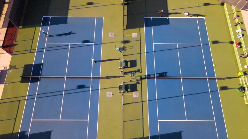 Barnes tennis center courts drone shot 2