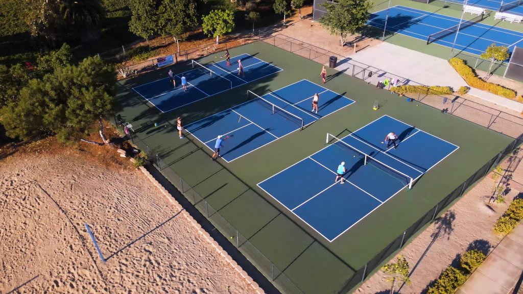 Barnes tennis center courts drone shot 3 matches