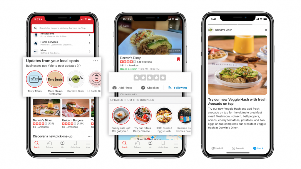 Yelp connect on cell phone