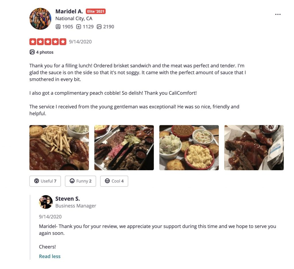 Cali bbq yelp review maridel a elite 5 star