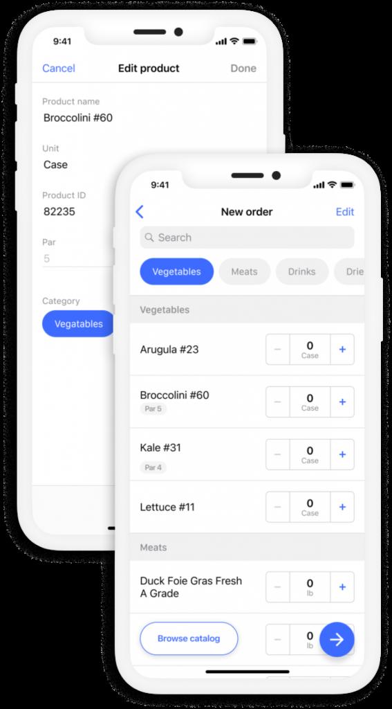 Choco app ordering on smart phone