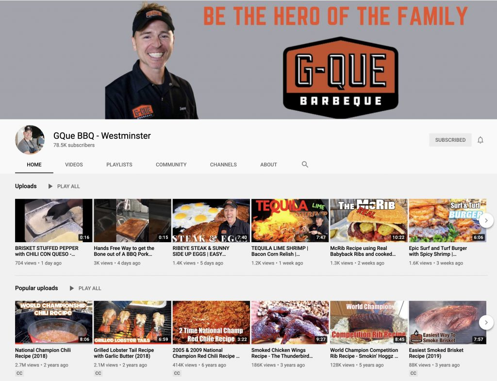 Gque bbq youtube channel
