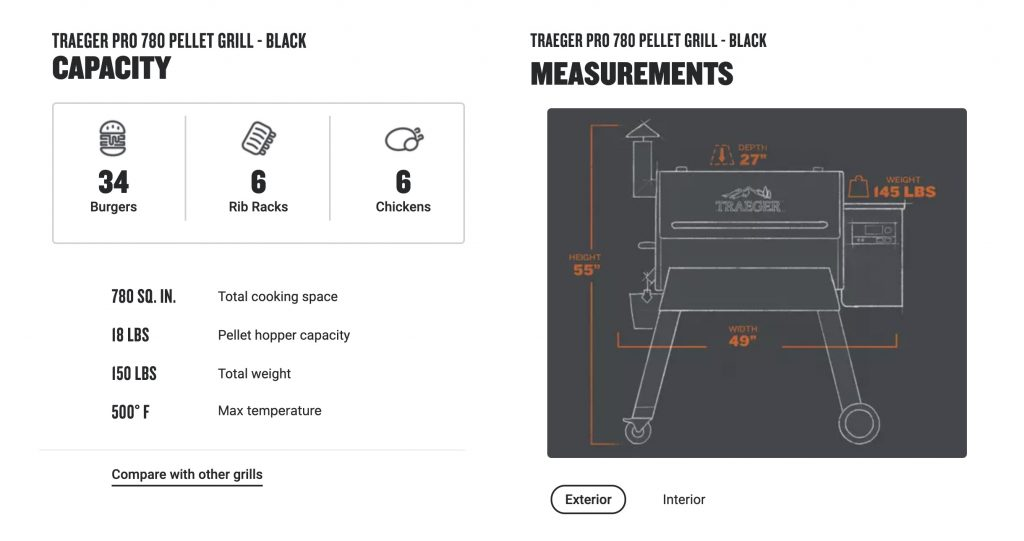 Traeger pro 780 pellet grill capacity and measurements