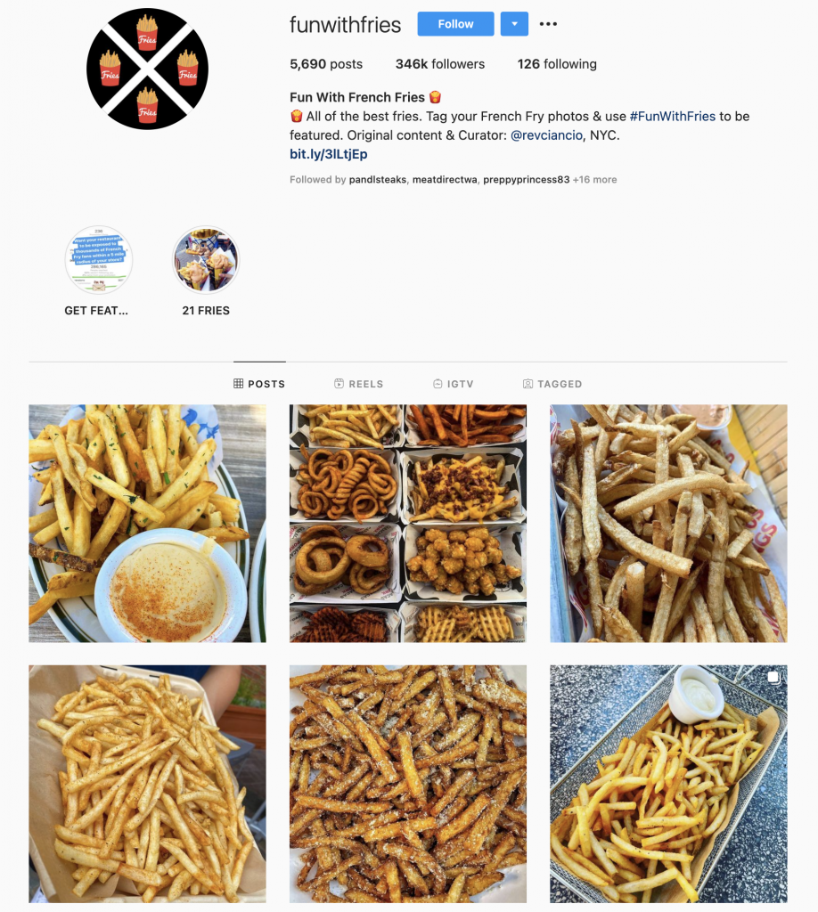 Fun with fries on instagram has hundreds of thousands of followers