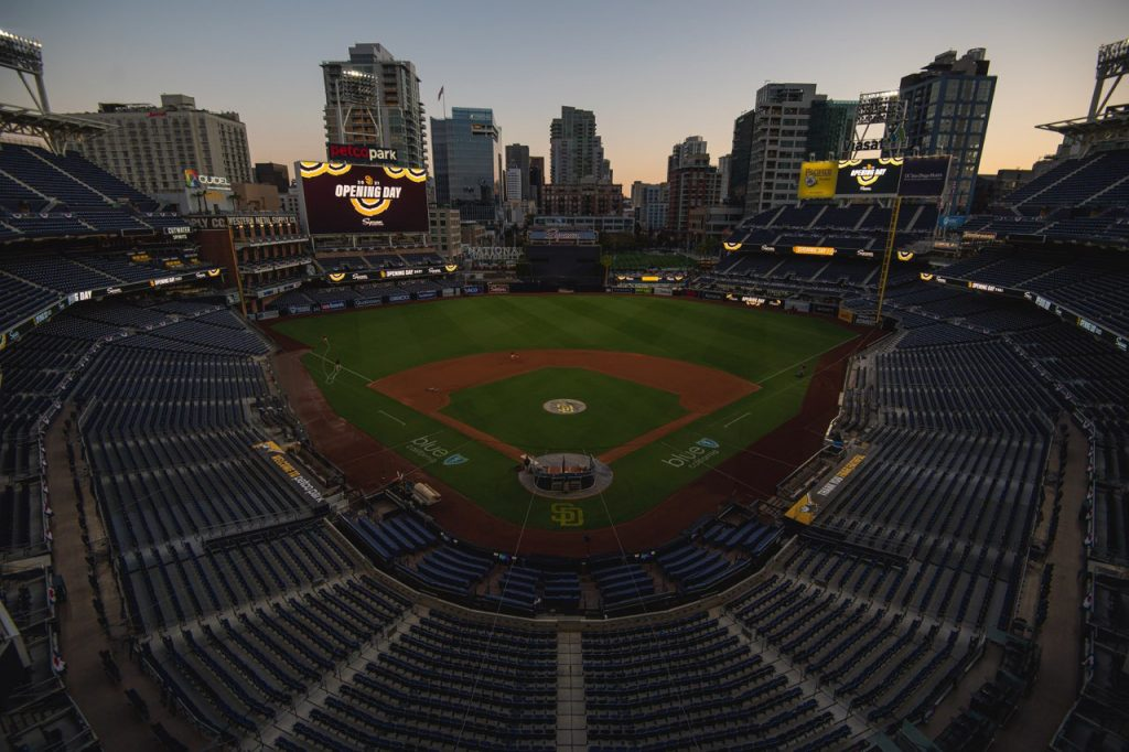 San diego padres opening day 2021 stadium is empty before the game