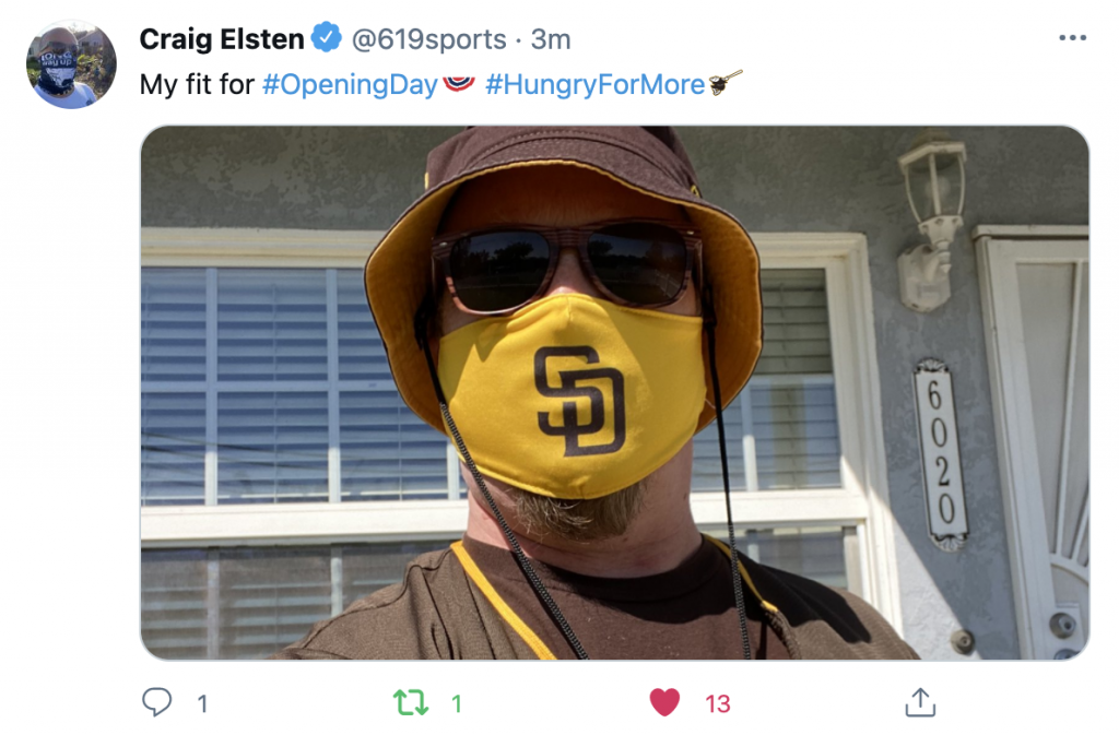 Craig elsten @619sports padres facemask opening day 2021