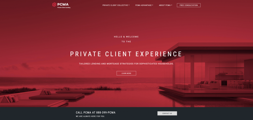 Pcma mortgage website explaining private client experience