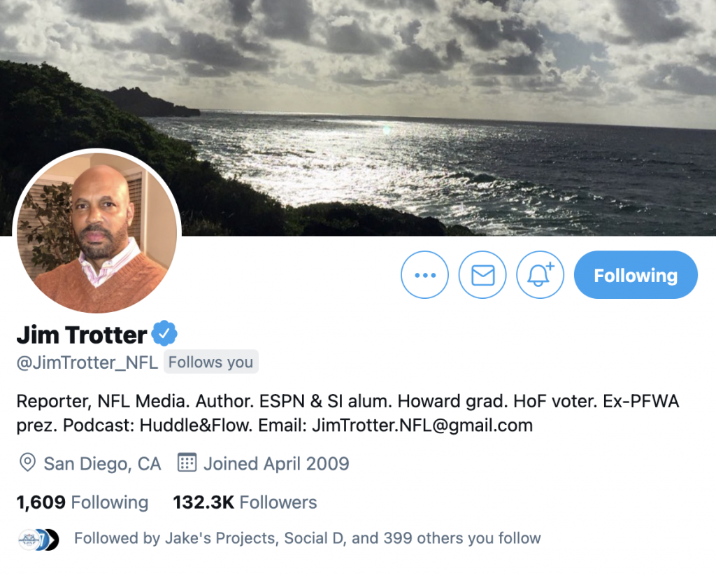 Jim trotter twitter account is @jimtrotter_nfl