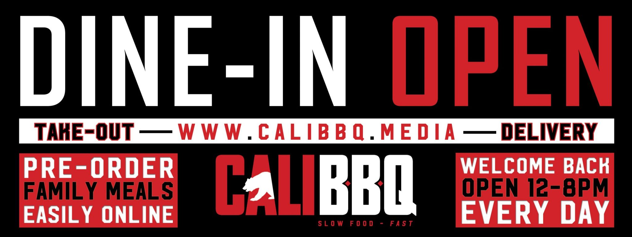 Cali bbq is back open for limited dine-in service in spring valley! Welcome home!