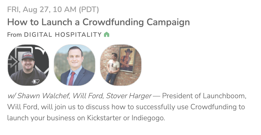 Digital hospitality clubhouse event about crowdfunding in 2021