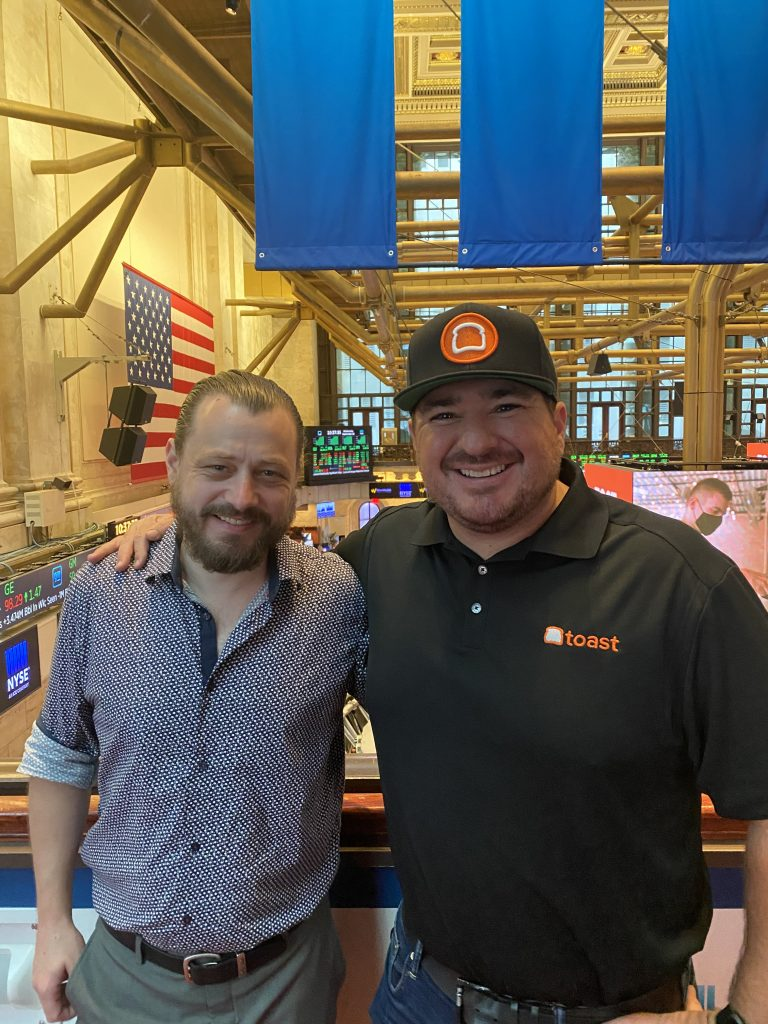 Shawn walchef and eric olafsen at the new york stock exchange for the toast ipo on sept. 22, 2021