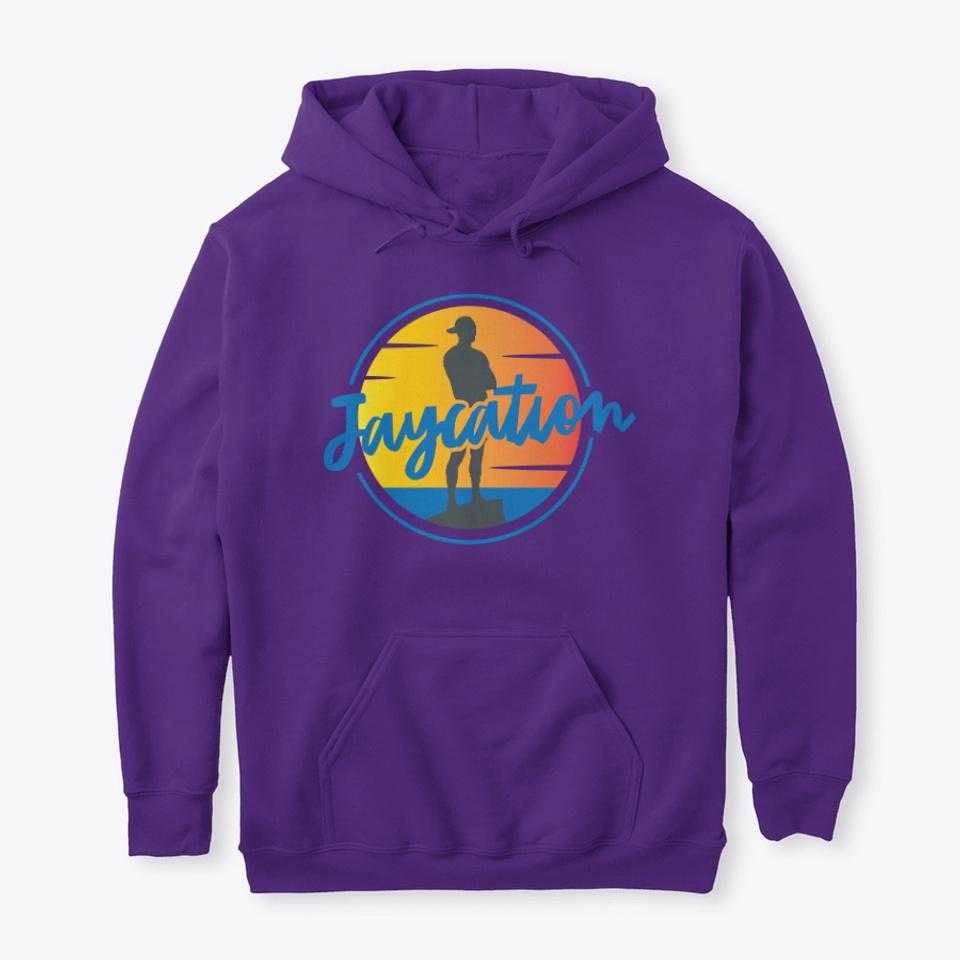 Jaycation merch purple hoodie