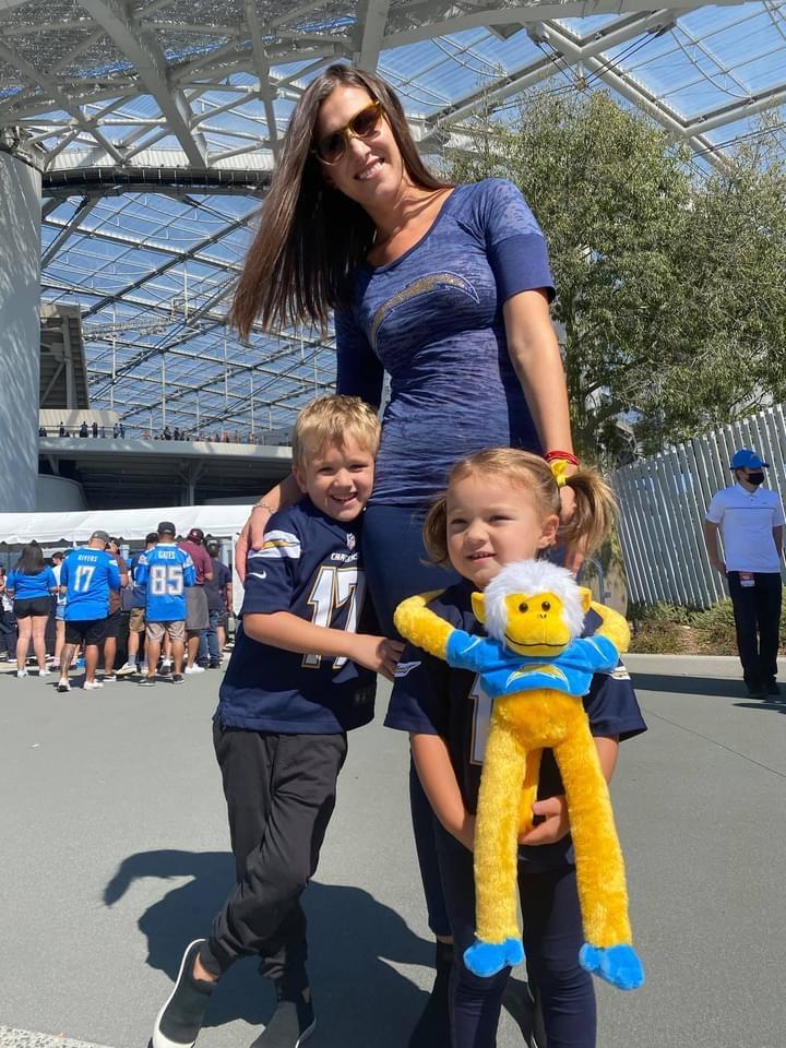 Rosi walchef and kids at sofi stadium